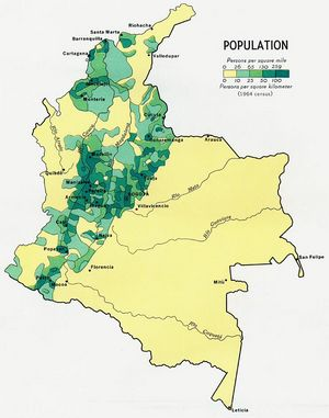 Carte population Colombie