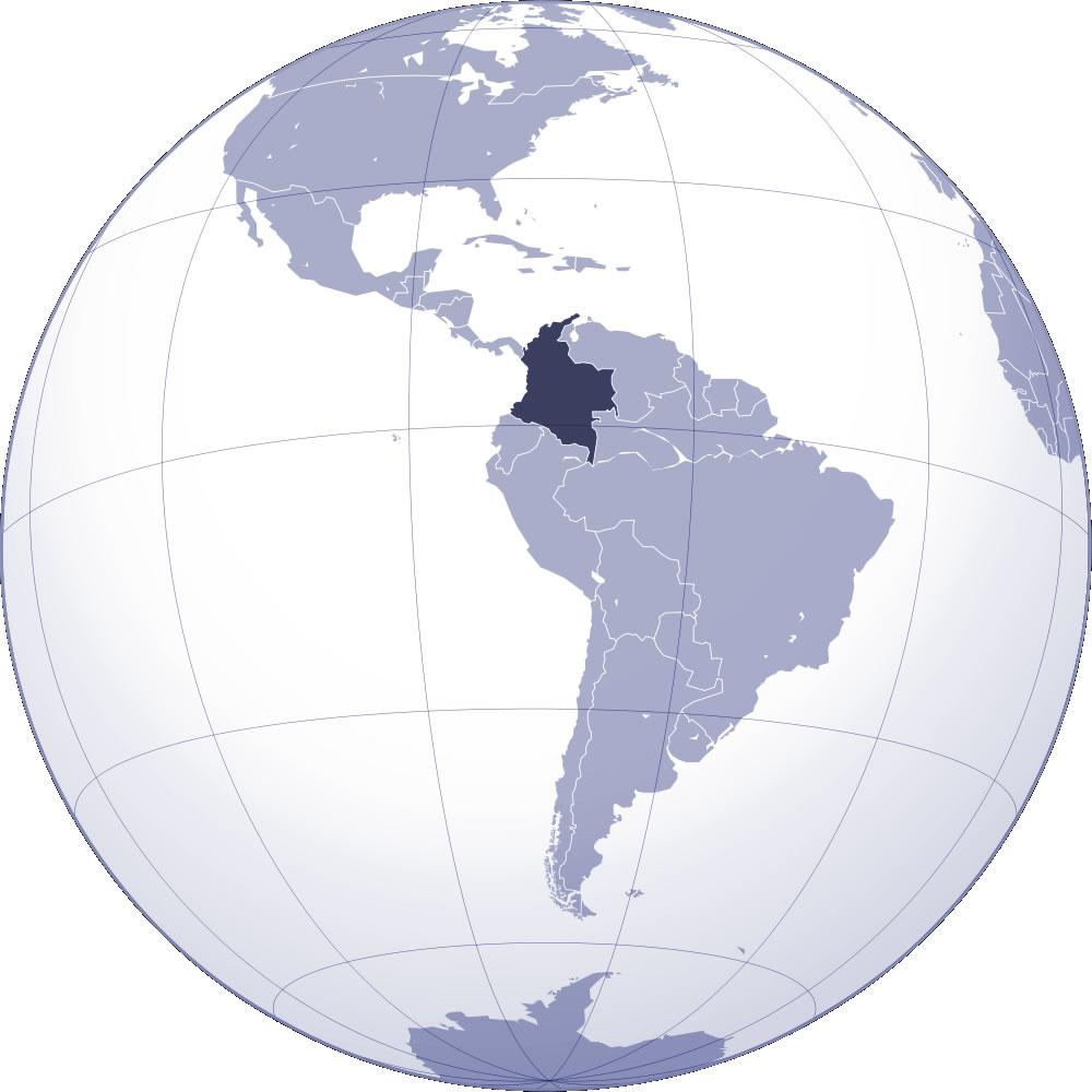 colombie sur la carte du monde