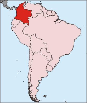 colombie sur la carte du monde - Image