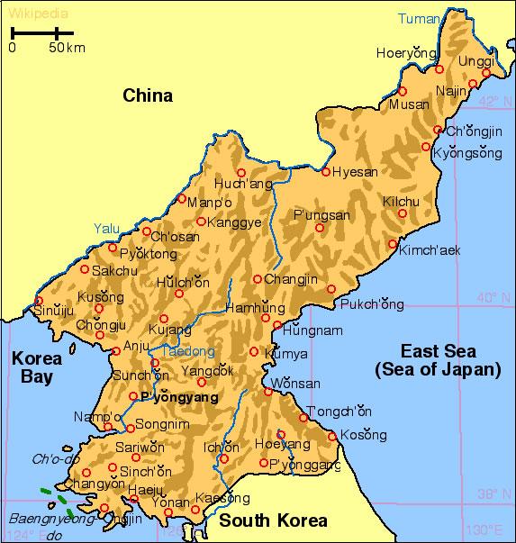Carte Corée du Nord, Carte de Corée du Nord