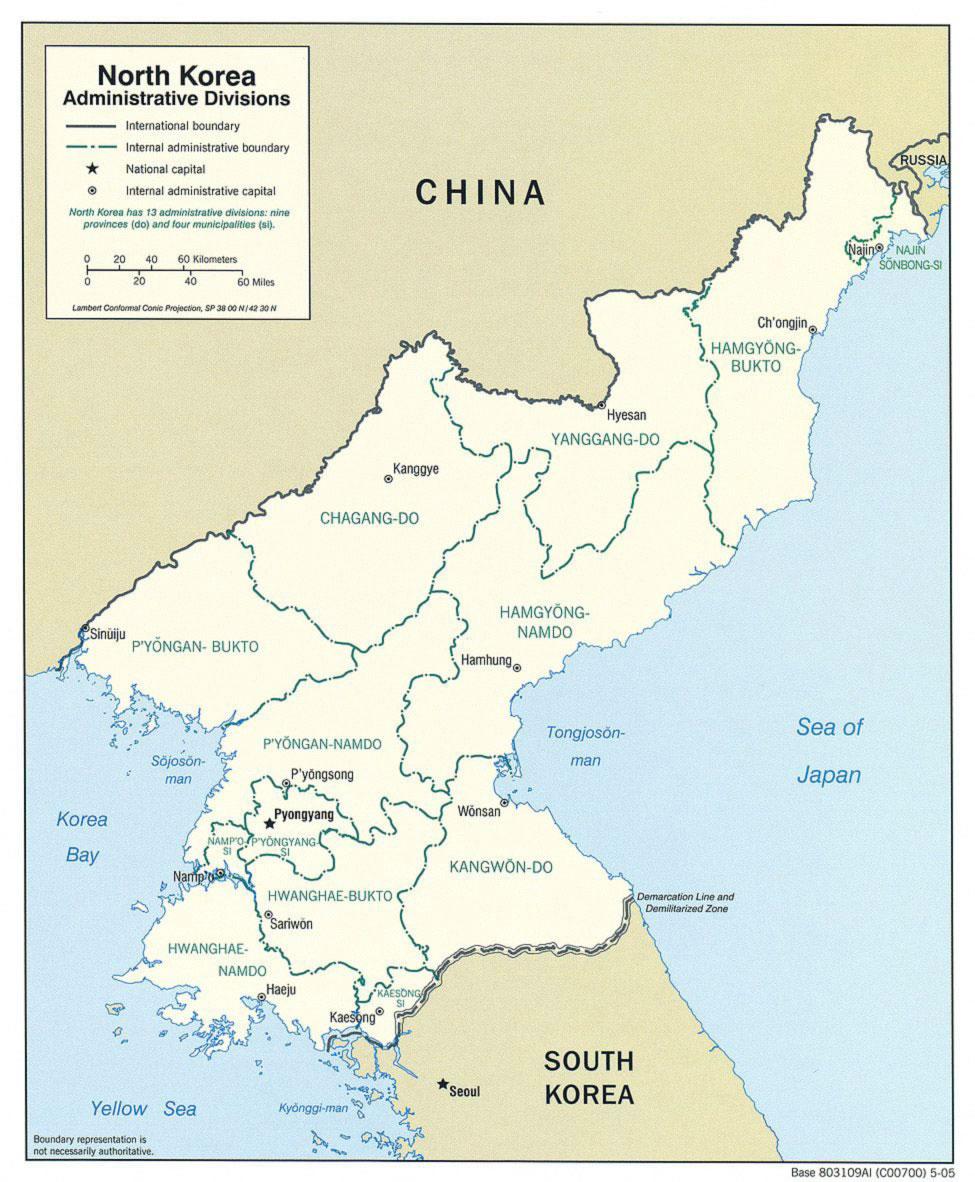coree du nord carte Carte régions Corée du Nord, Carte des régions de Corée du Nord