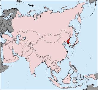 coree du nord sur la carte du monde