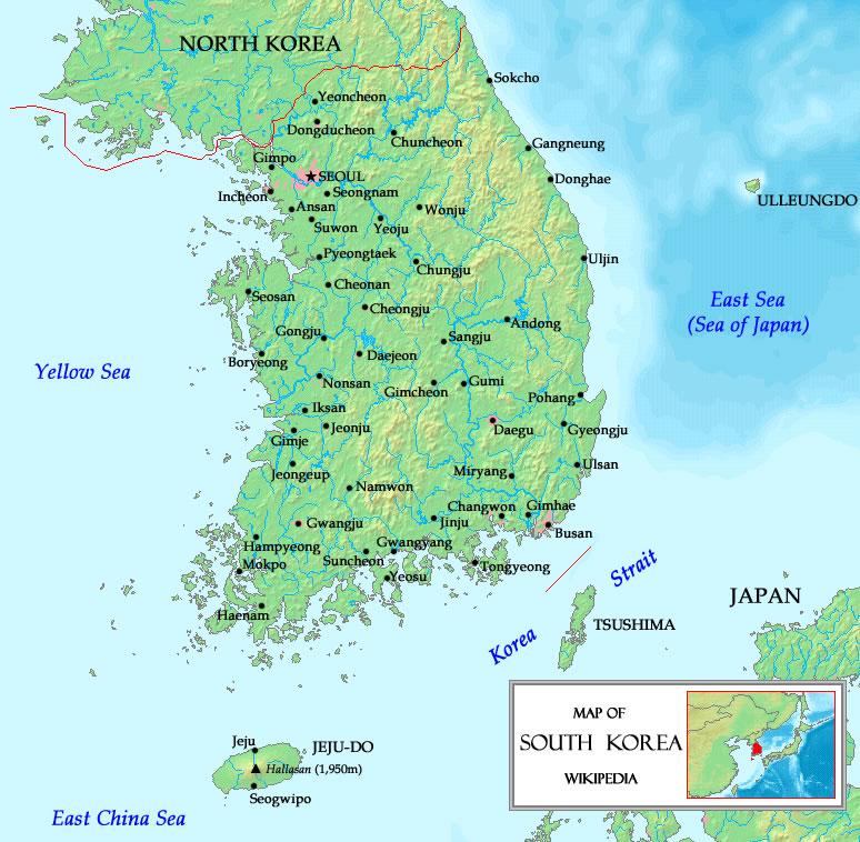 Carte Corée du Sud, Carte de la Corée du Sud