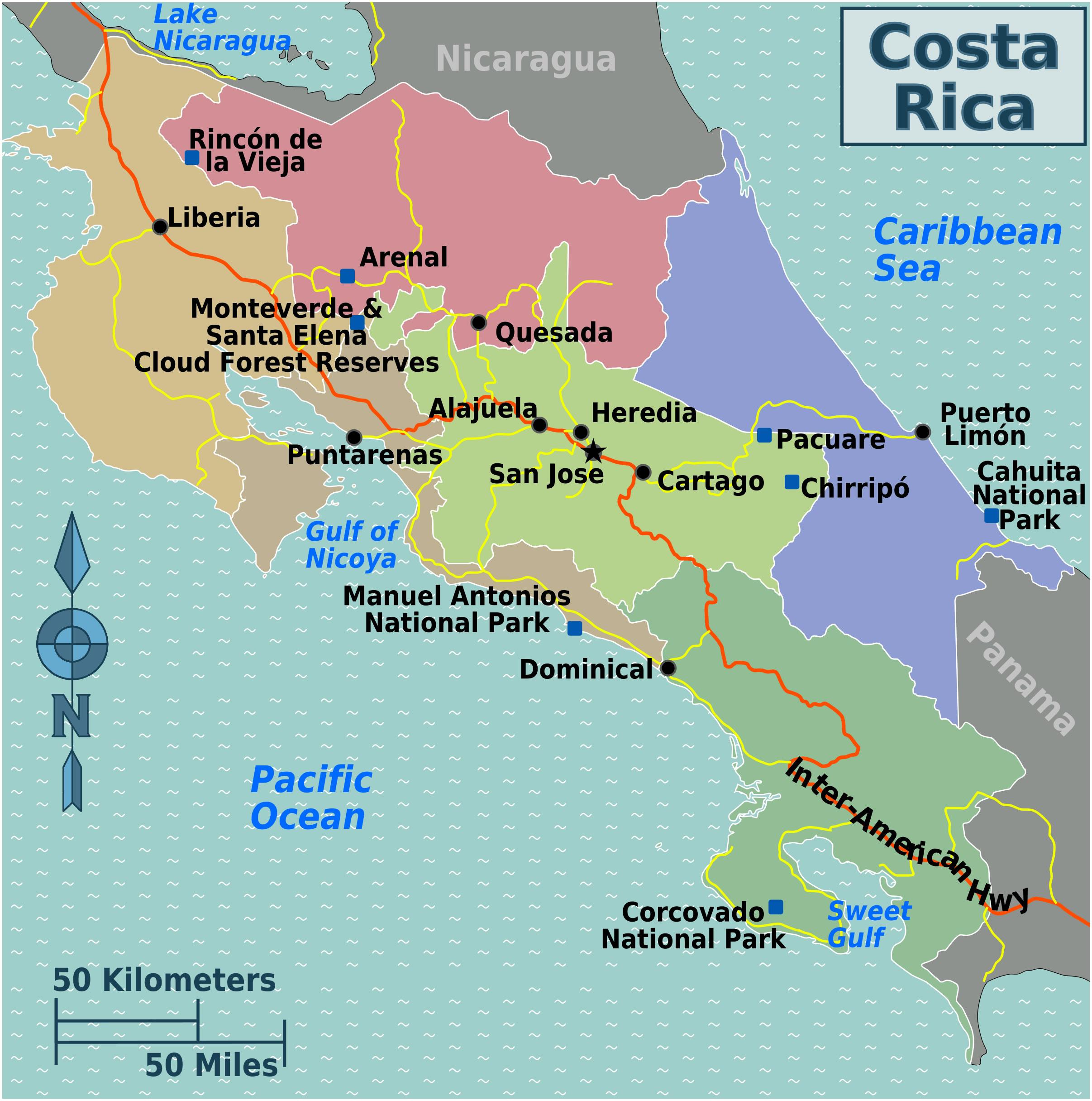 Carte régions Costa Rica, Carte des régions de Costa Rica