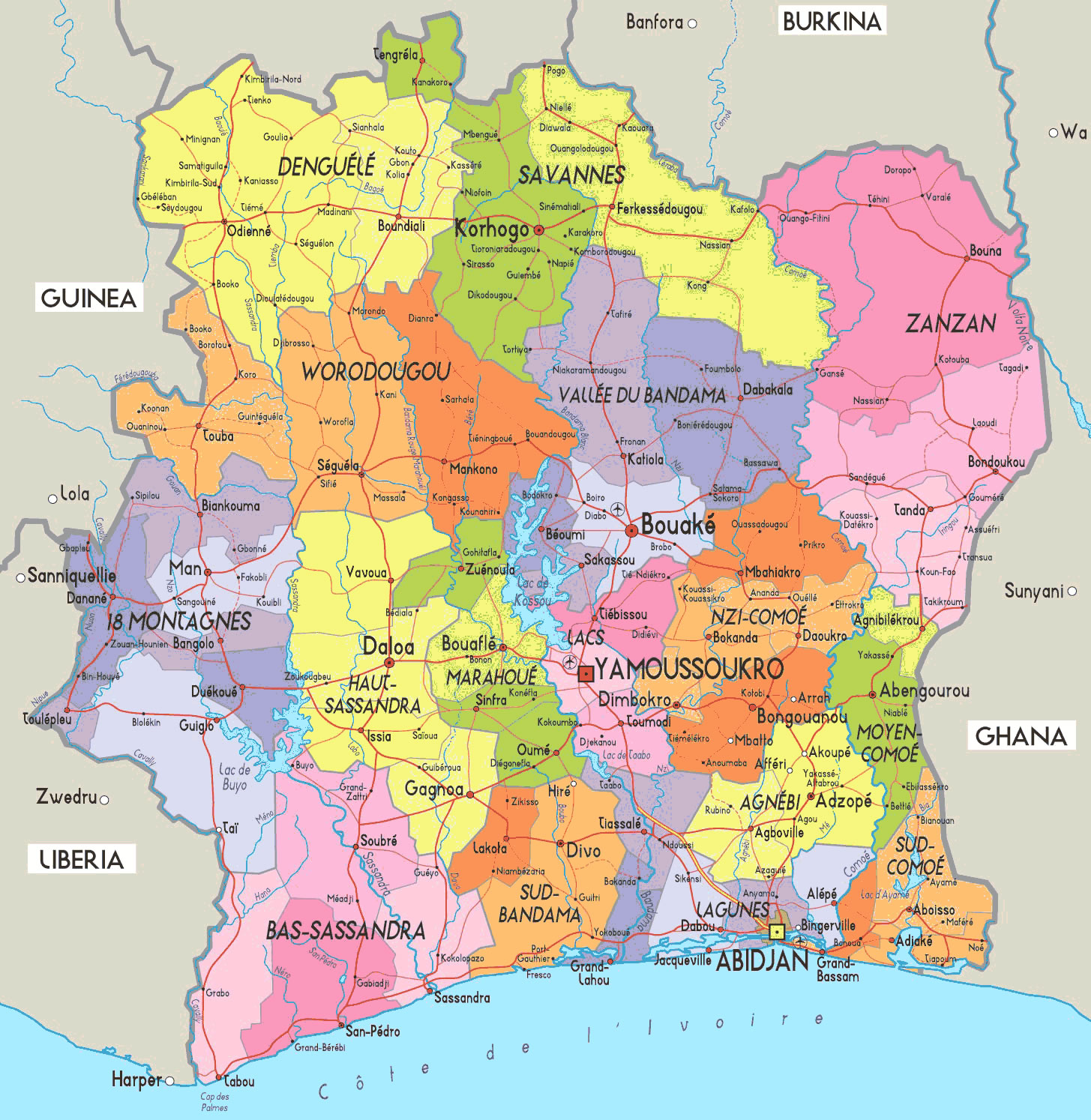 Carte départements Côte d'Ivoire, Carte des départements de Côte d