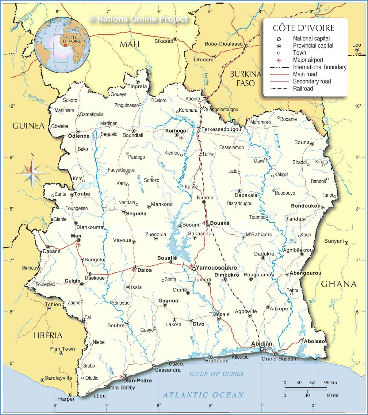 Grande carte Côte d'Ivoire, Grande carte de Côte d'Ivoire