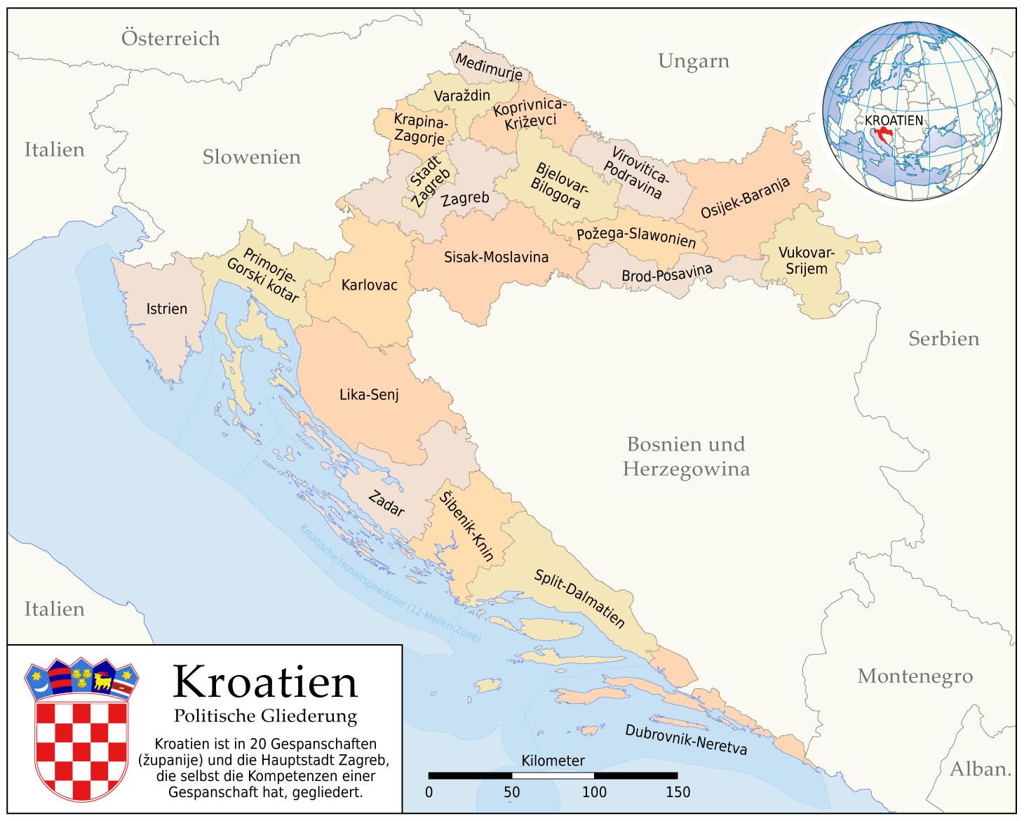 Carte politique Croatie, Carte politique de Croatie