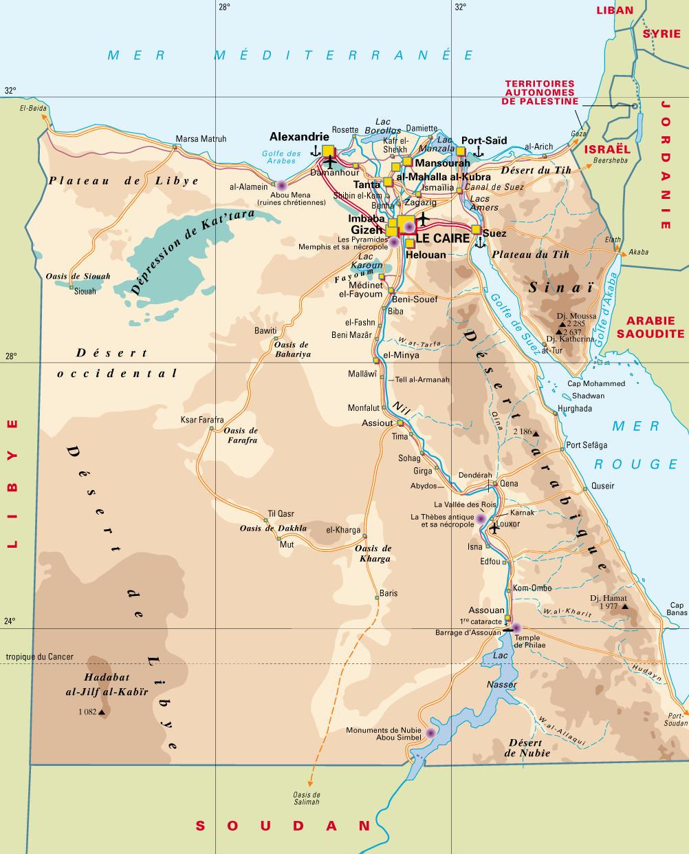Carte aéroports Égypte, Carte des aéroports de l'Égypte