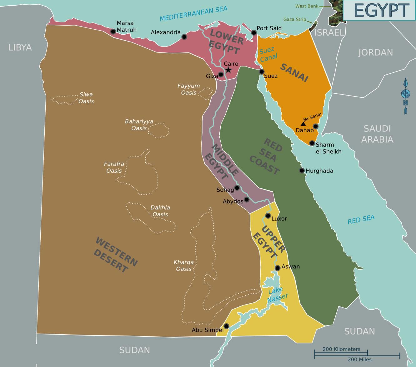 Carte r gions gypte couleur carte des r gions de l 39 gypte en couleur - Couleur du monde kenya ...