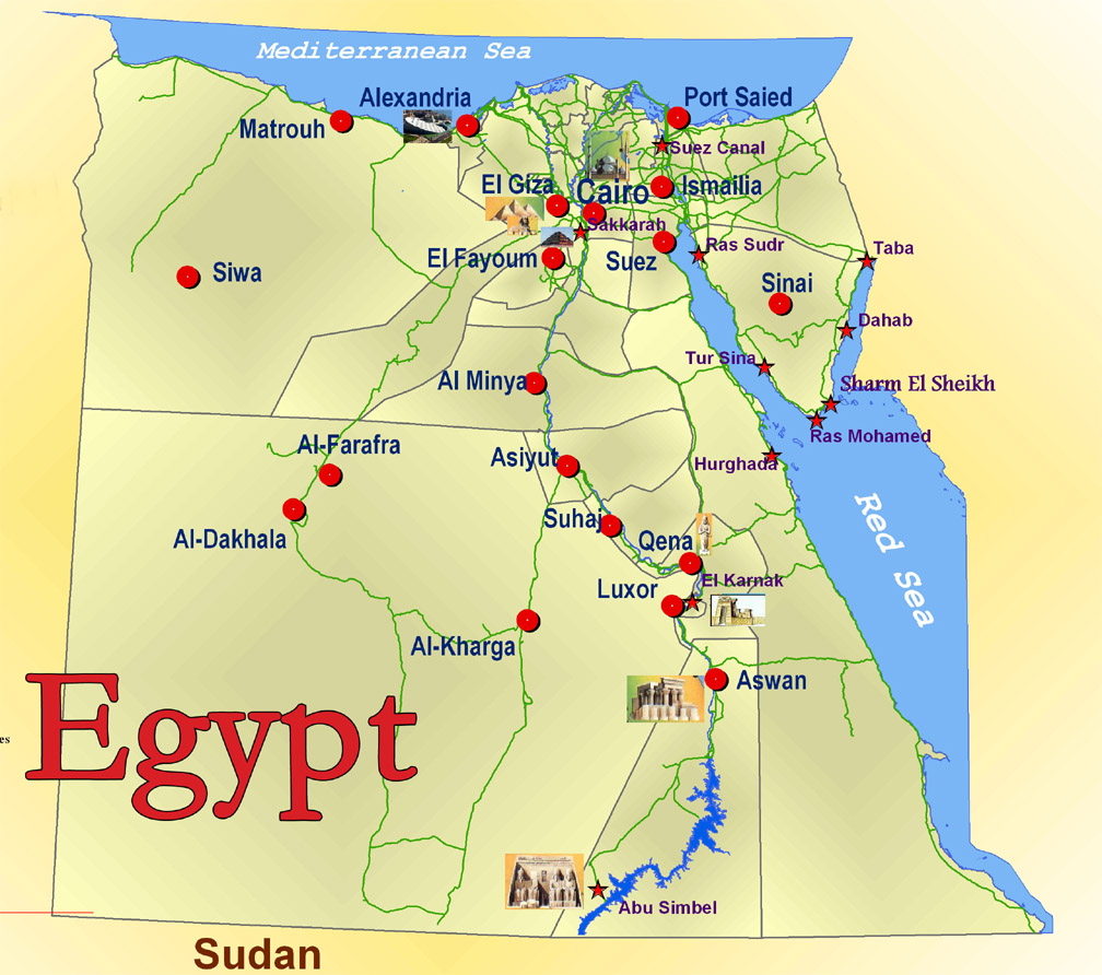carte de l egypte Carte villes touristiques Égypte, Carte des villes touristiques de