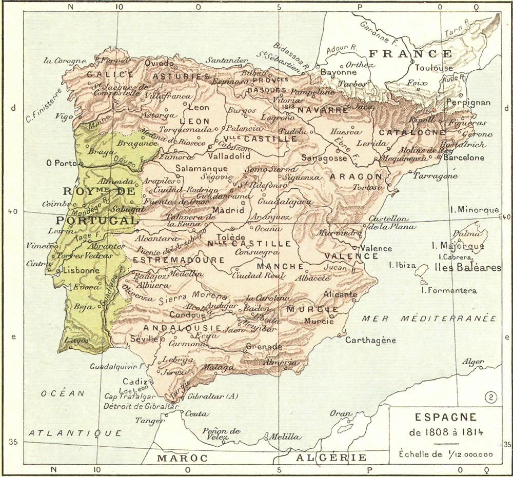 carte espagne 1808
