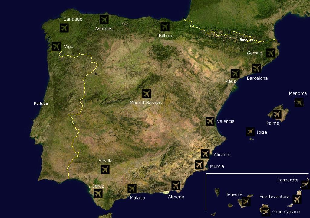 Carte aéroports Espagne, Carte des aéroports de l'Espagne