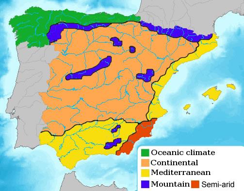 Carte climat Espagne, Carte des climats et météo de l'Espagne