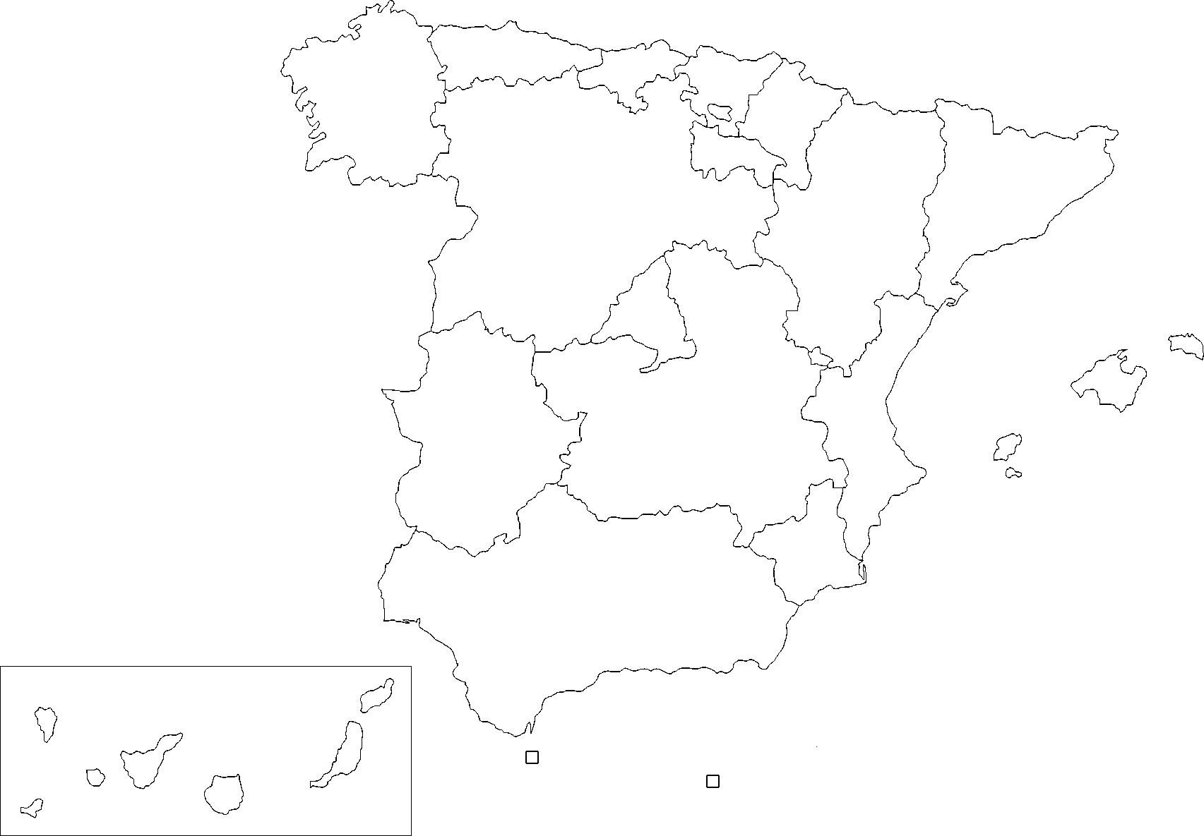 Carte Espagne Noir Et Blanc.Carte Espagne Vierge Regions Carte Vierge Des Regions De L