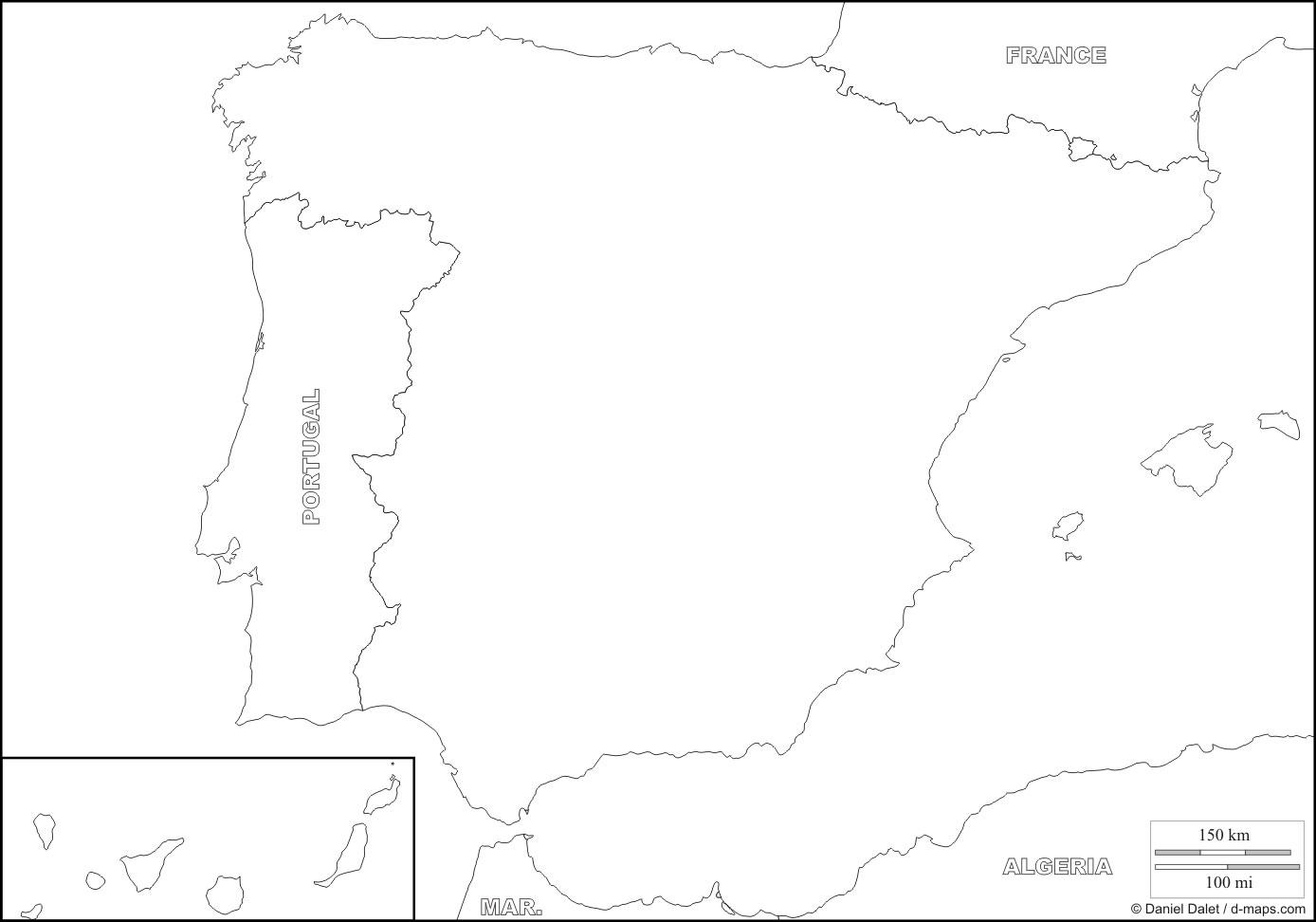 Carte Amerique Pays Vierge.Carte Espagne Vierge Carte Vierge De L Espagne