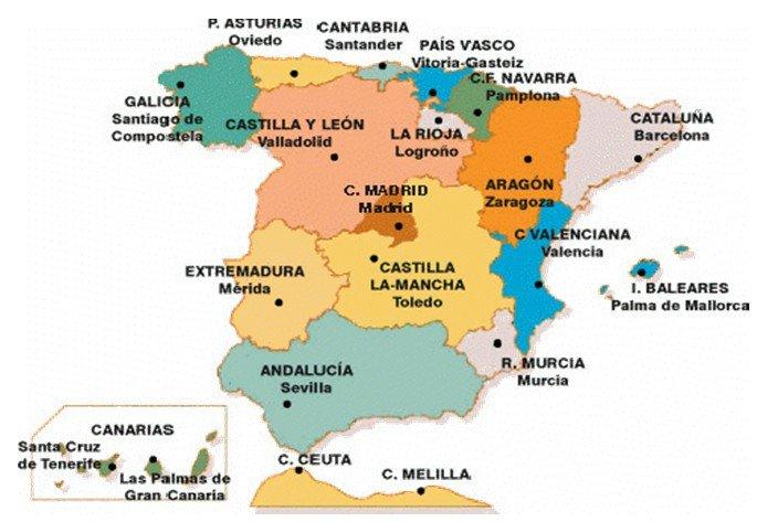 Carte Regions Espagne Carte Des Regions De L Espagne