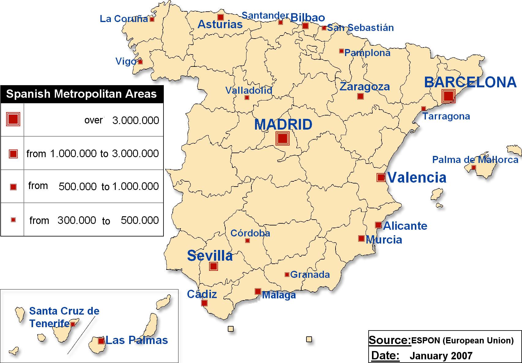 Carte touristique Espagne, Carte touristique de l'Espagne
