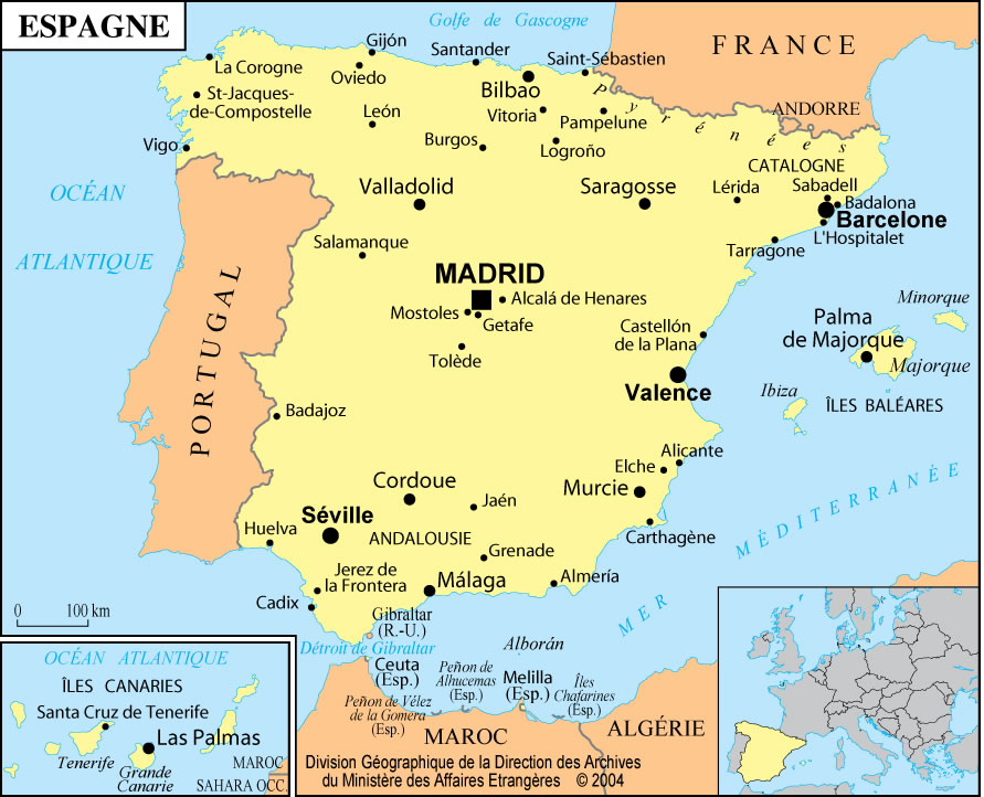 Carte villes touristiques Espagne, Carte des villes touristiques