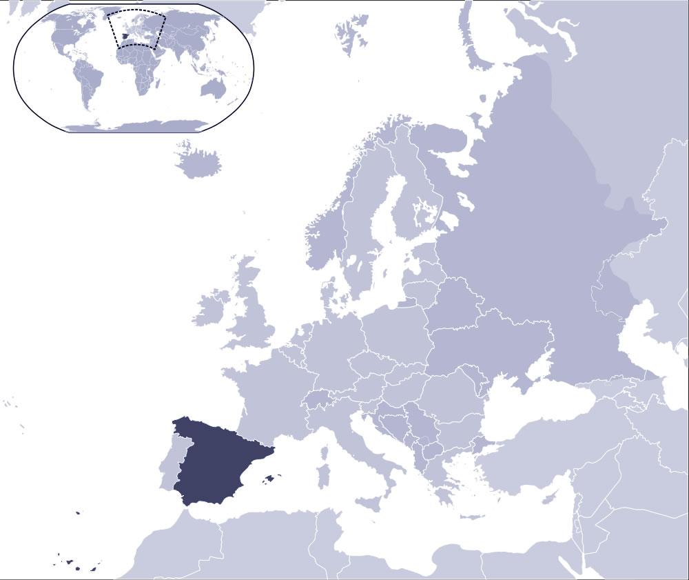 carte espagne dans le monde