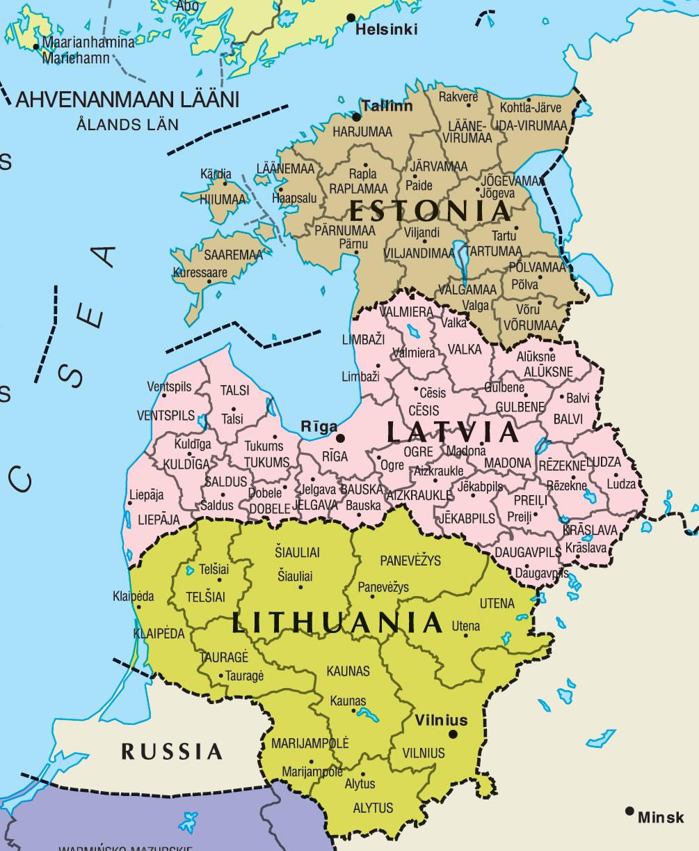 Carte frontières Estonie, Carte des frontières de Estonie