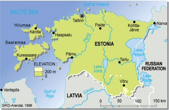 Carte rivières Estonie, Carte des rivières de Estonie