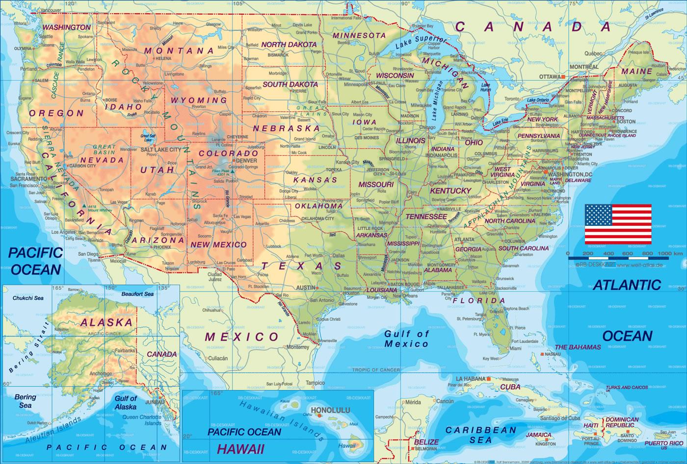 Carte États Unis, Carte des États Unis