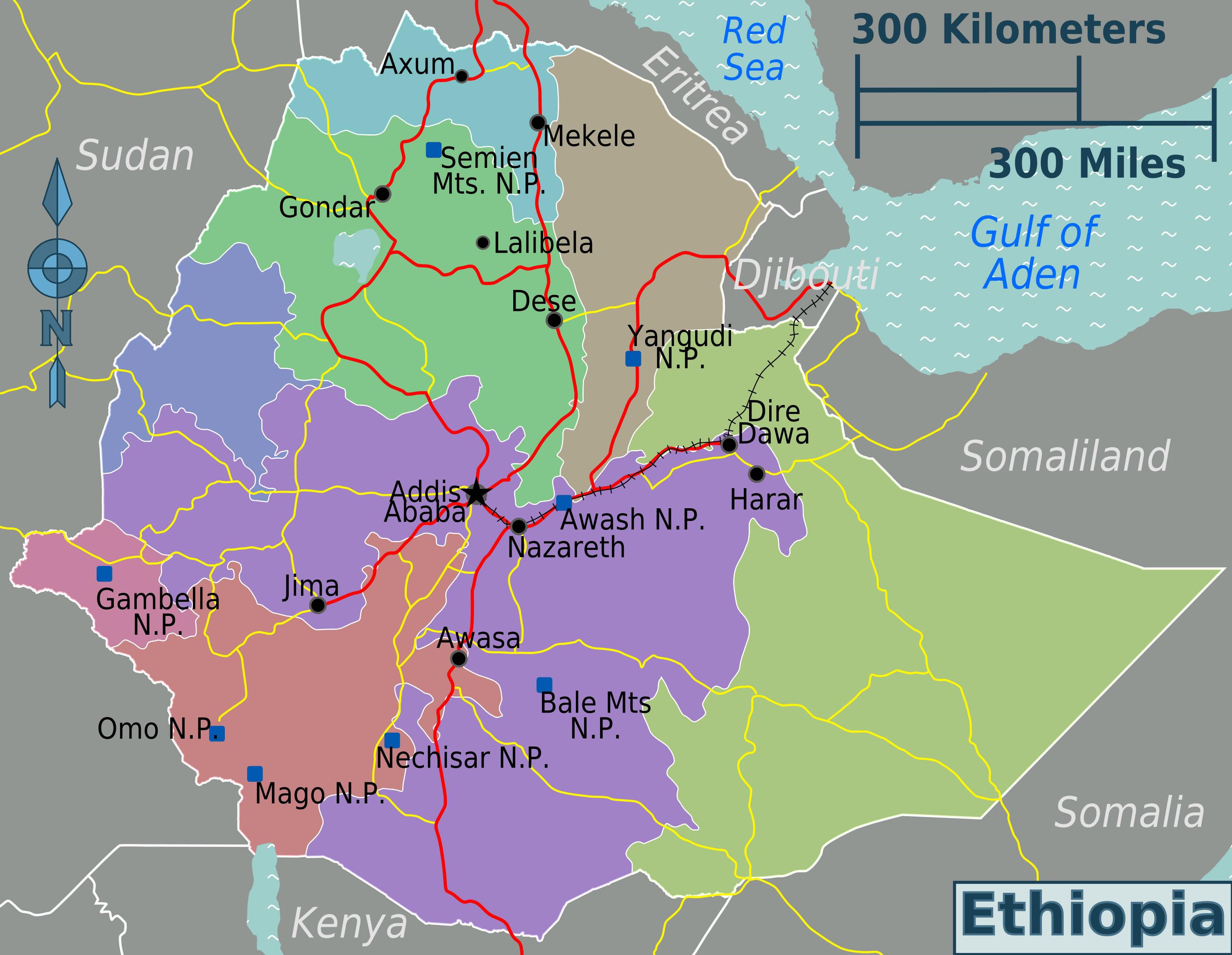 Carte régions Éthiopie, Carte des régions de Éthiopie
