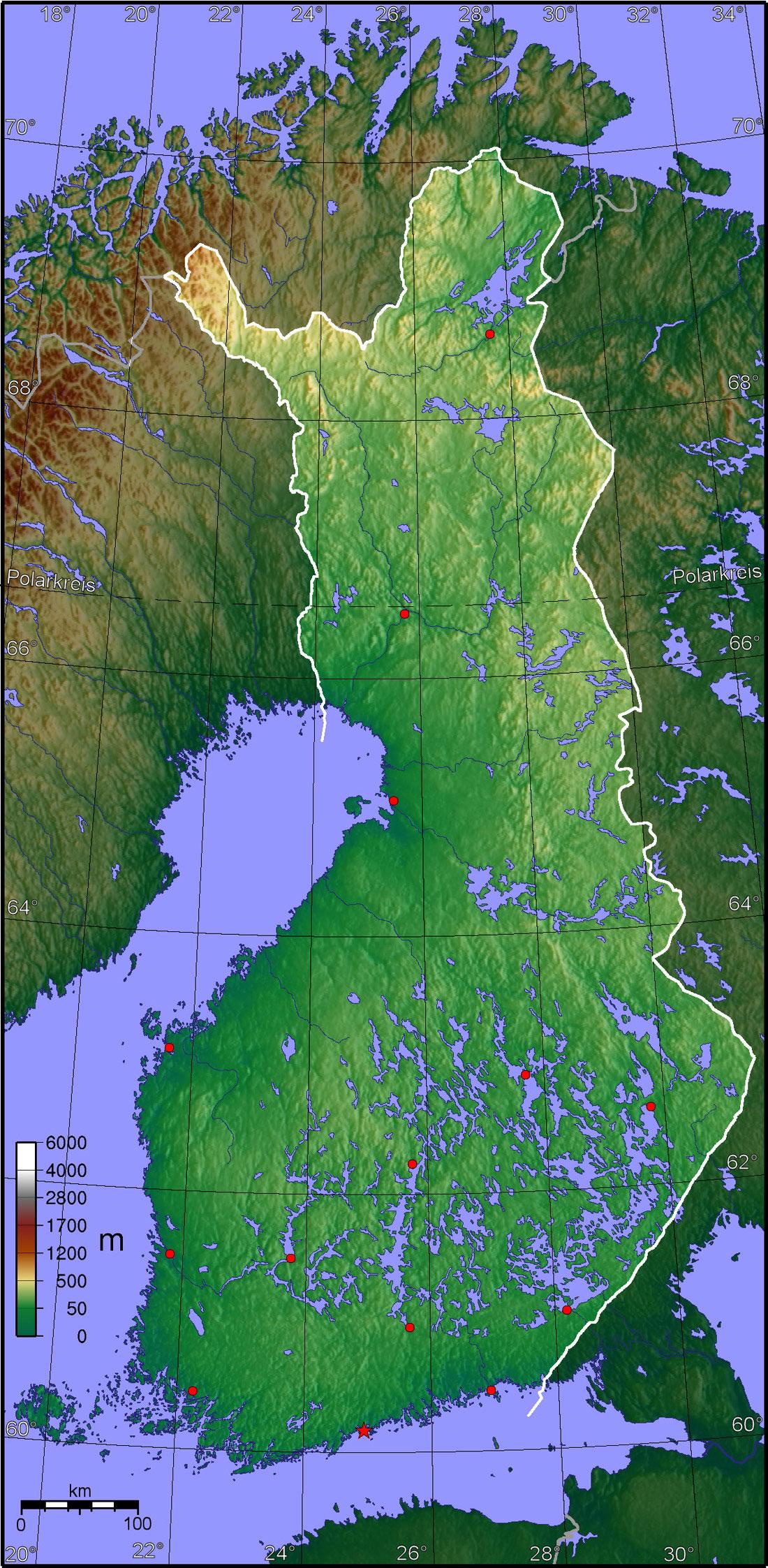Carte topographique Finlande, Carte topographique de Finlande