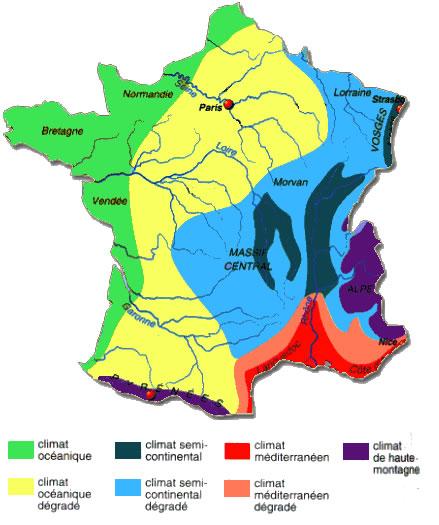 Carte France Meteo Carte Des Climats et Météo de