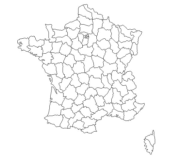 carte de france departement vierge
