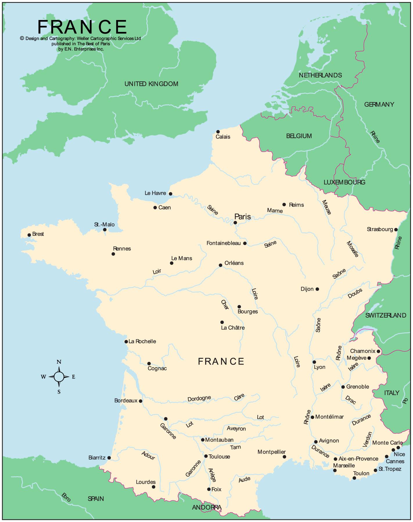 carte de france frontiere