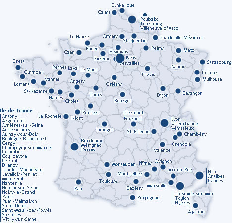 Carte grande villes de france carte grande villes de france for Piscine de france