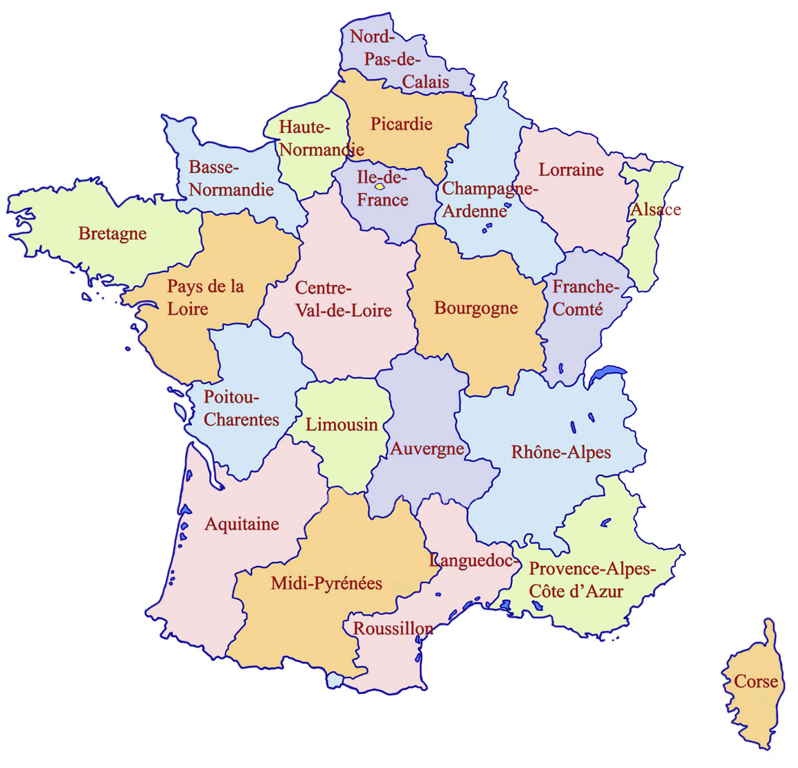 Carte Des Regions De France Imprimer | My blog