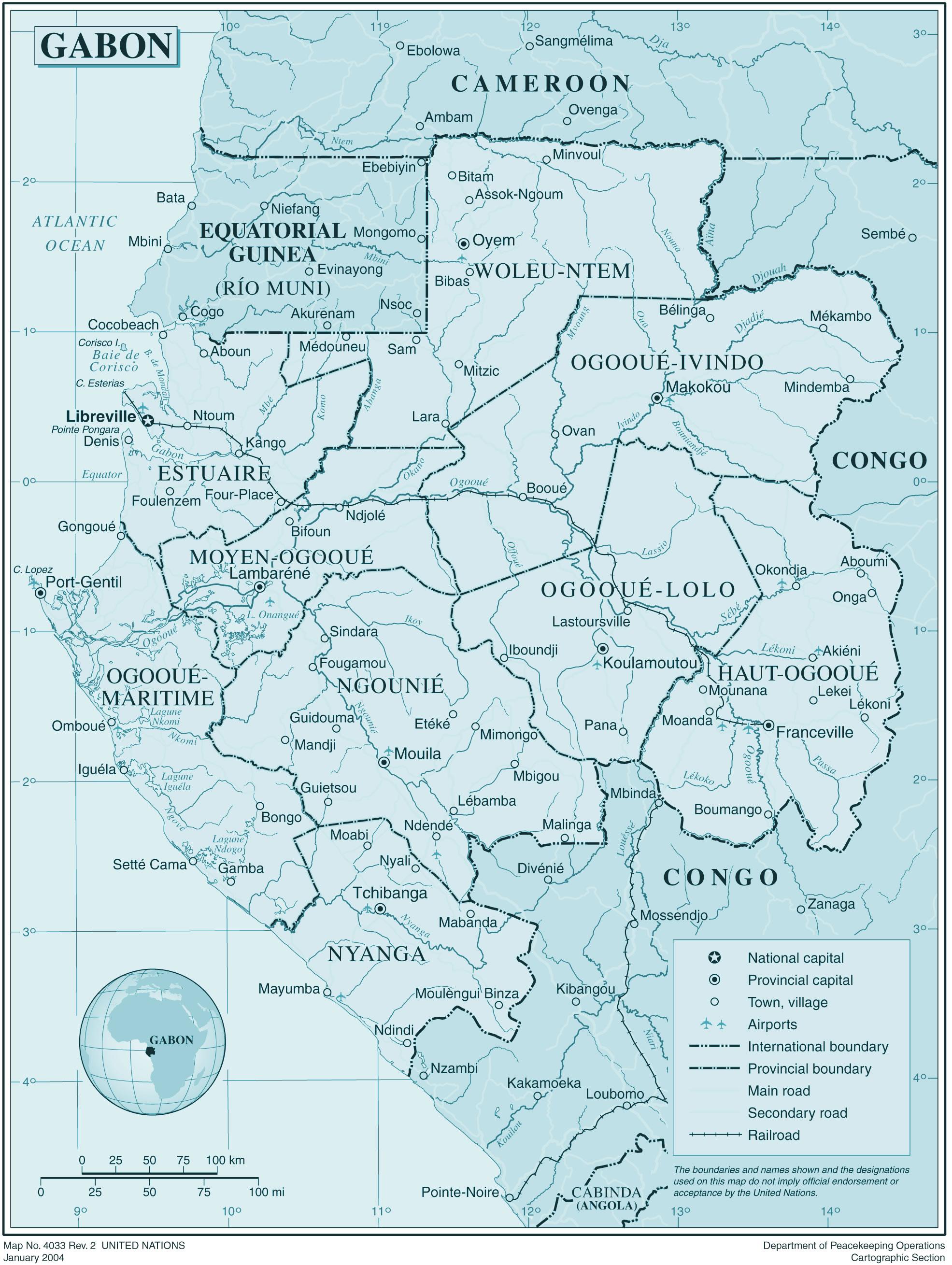 Carte Gabon, Carte du Gabon