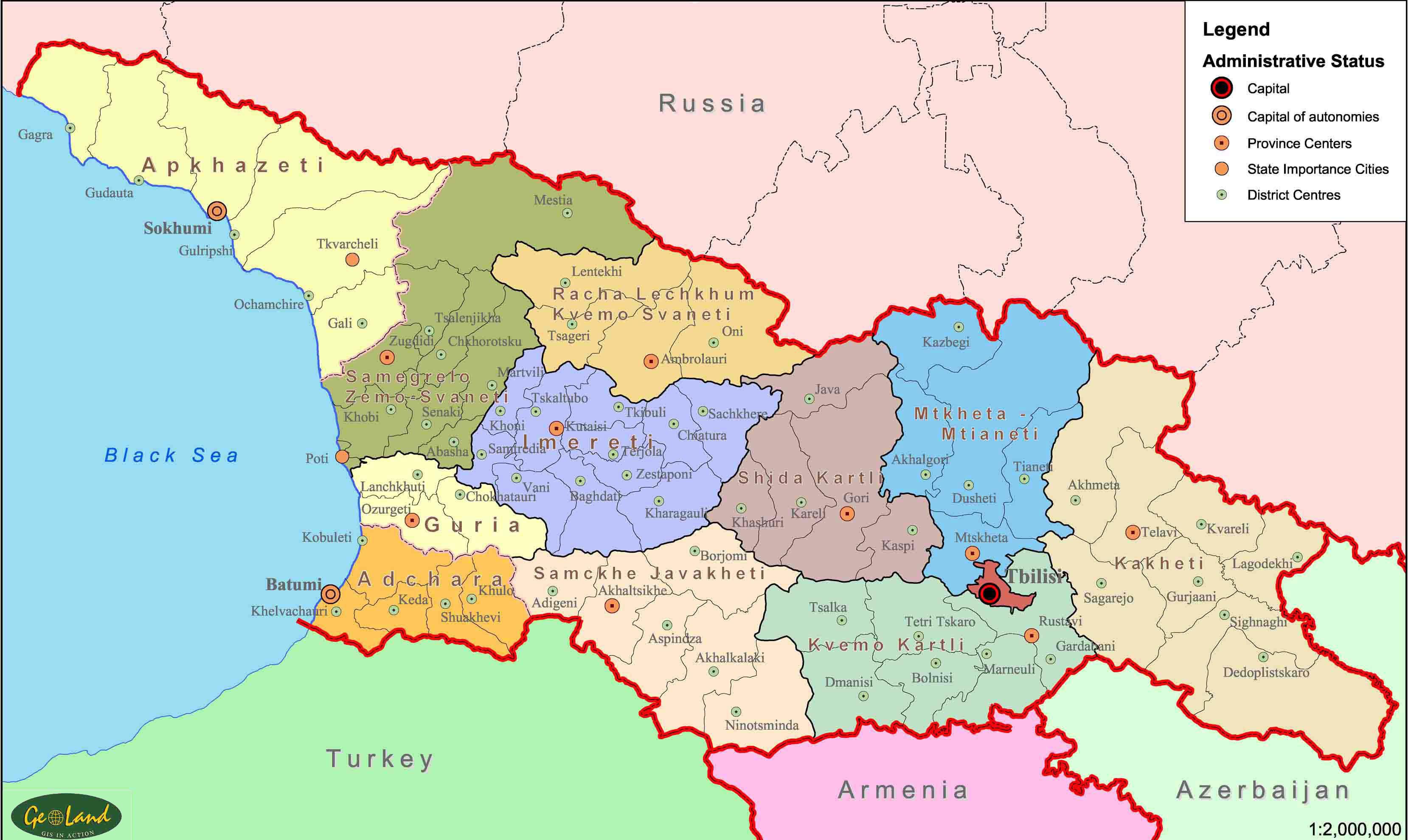 Carte des villes Géorgie, Carte des villes de Géorgie