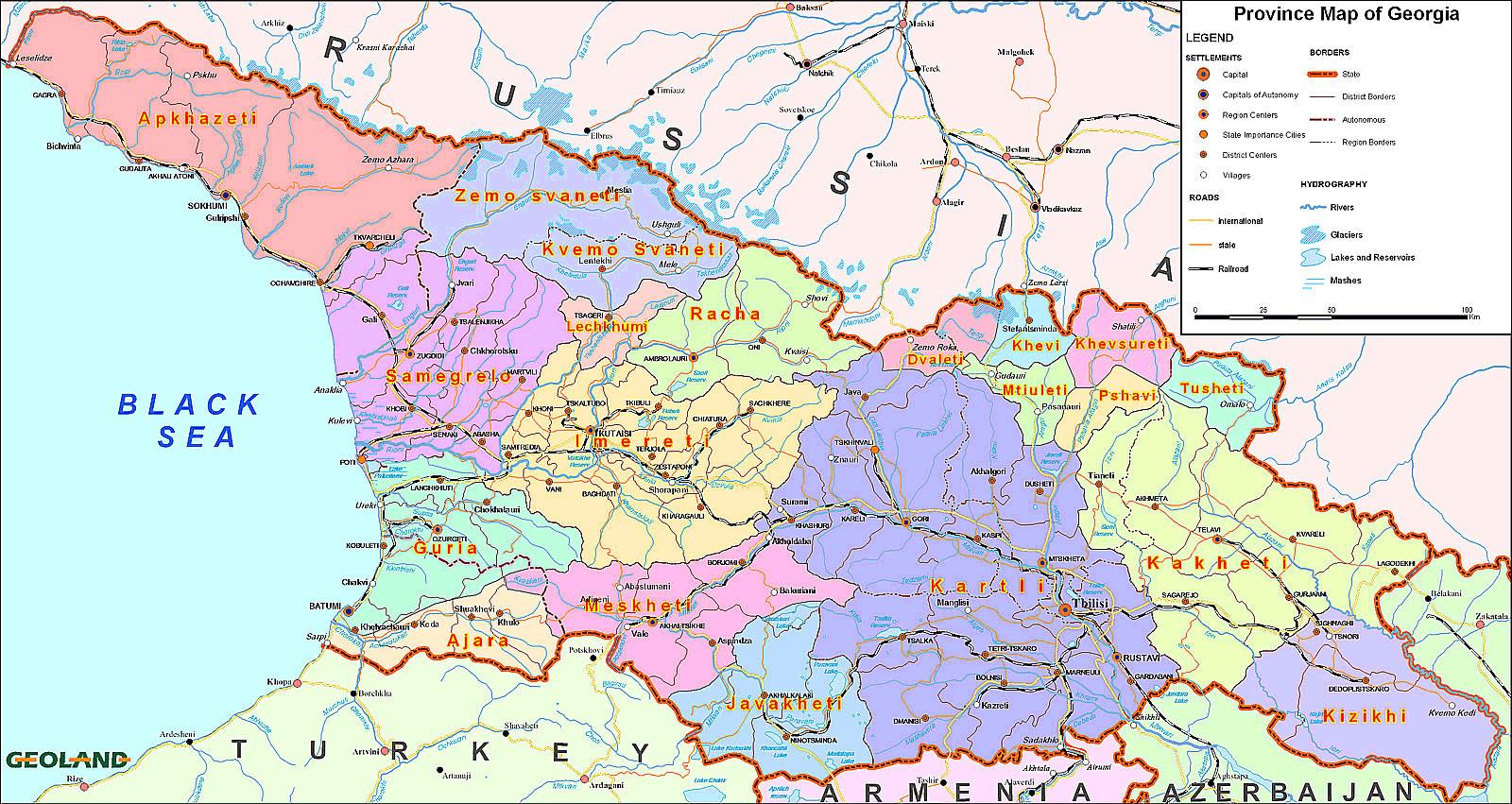 Grande carte Géorgie, Grande carte de Géorgie