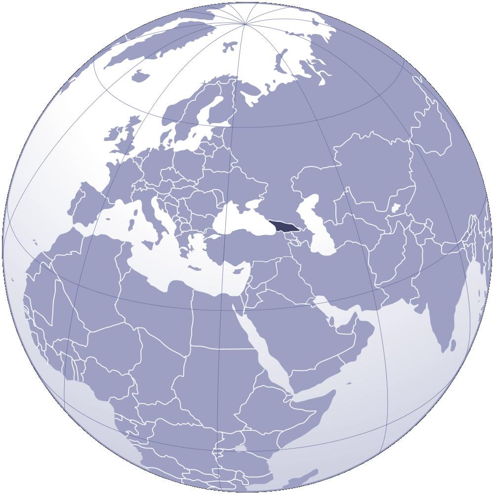 Localiser Géorgie sur carte du monde, Localiser pays de Géorgie