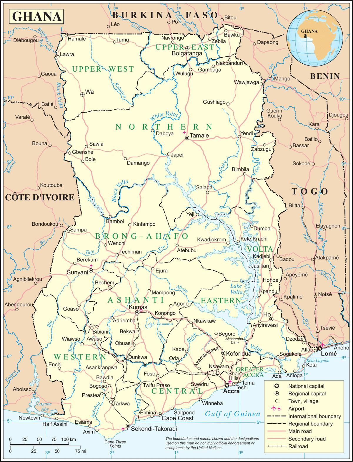 Carte Ghana, Carte du pays Ghana