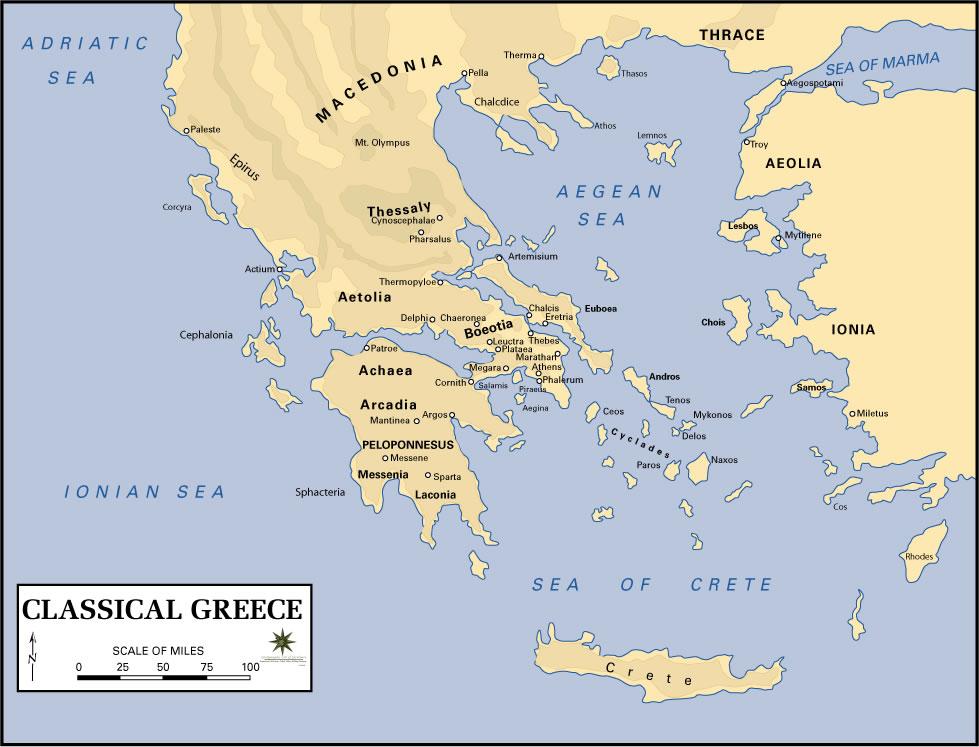 Carte géographique Grèce, Carte géographique de Grèce