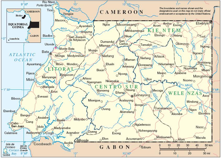 Carte des villes Guinée équatoriale, Carte des villes de Guinée