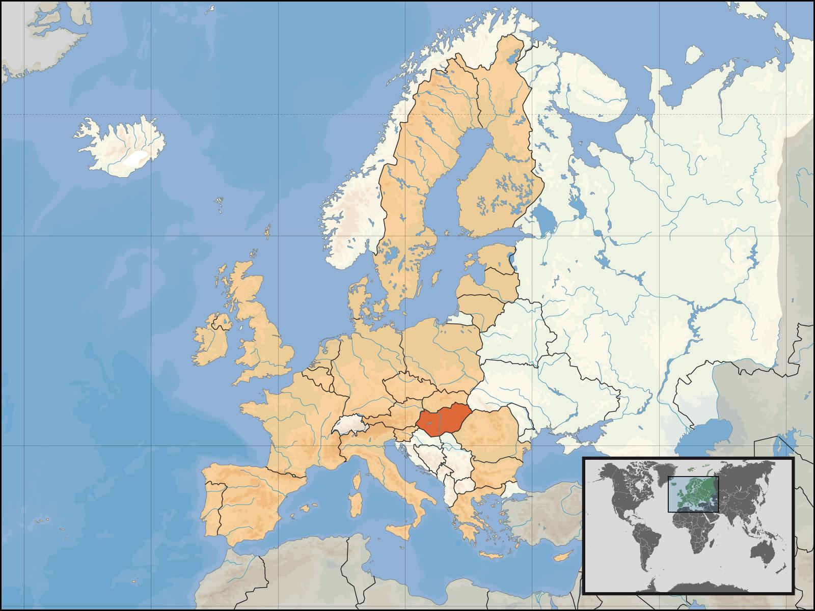 carte de monde hongrie - Image