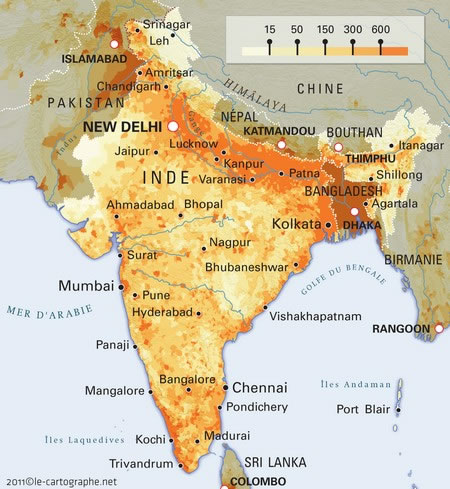 Carte Sismique Inde.Carte Densite Population Inde Carte Densite De La