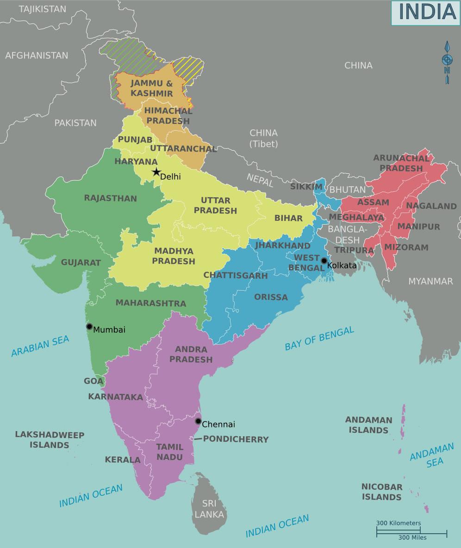 Carte r gions inde couleur carte des r gions de l 39 inde en couleur - Carte du monde en couleur ...
