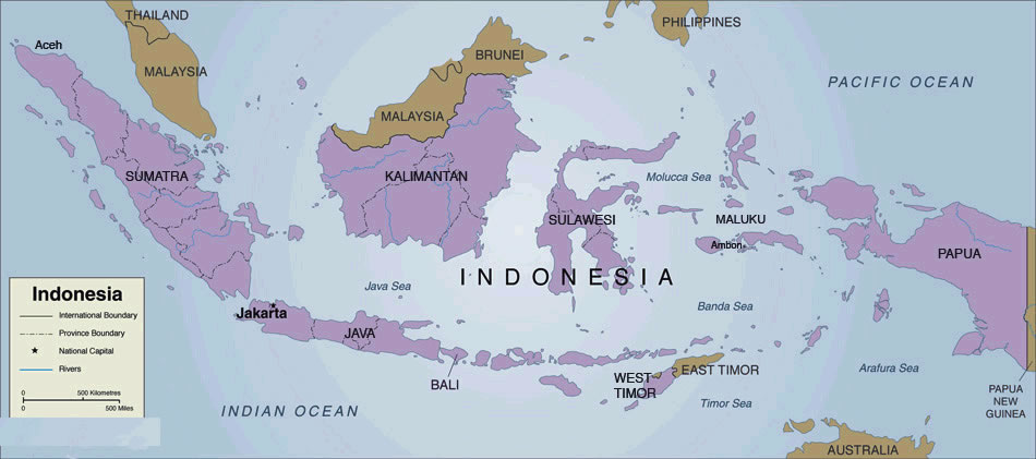 indonesie sur la carte du monde