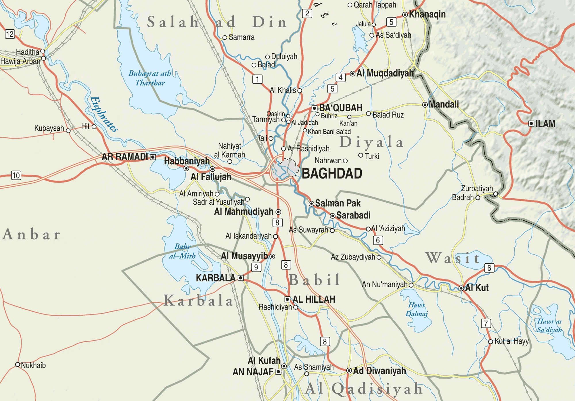 Carte routière Irak, Carte routière de Irak