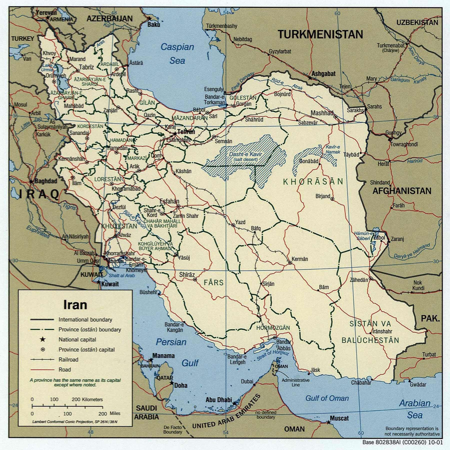 Carte géographique Iran, Carte géographique de Iran