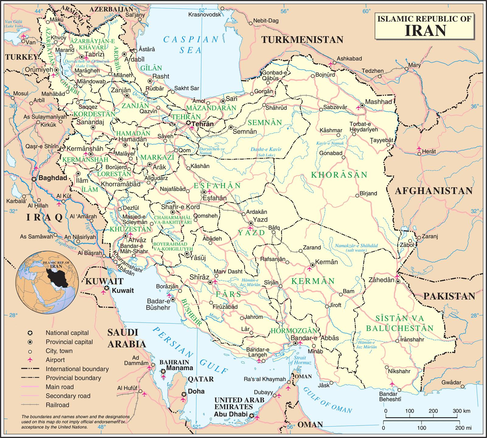 Carte Iran, Carte de l'Iran