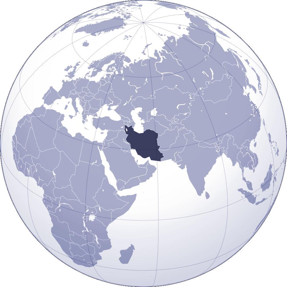 carte du monde iran - Image