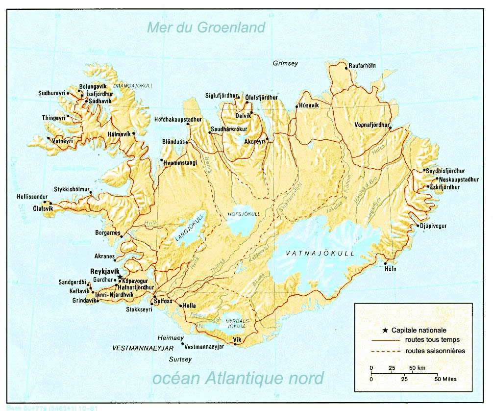 Carte Islande, Carte de l'Islande
