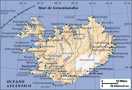 Carte des villes Islande, Carte des villes de Islande